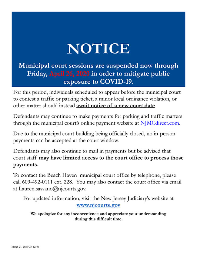 Municipal court sessions are suspended now through Friday, April 26, 2020 in order to mitigate public exposure to COVID-19.